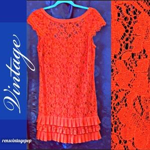 Orange Lace Retro Drop waist Dress